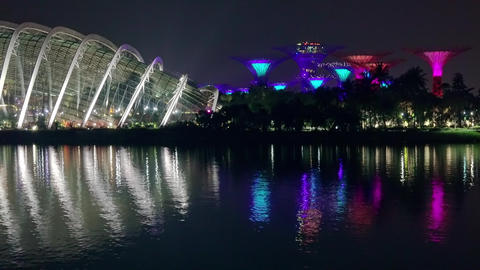 Light and Musical Show in Garden Rhapsody of Singapore. Fast Motion. Seamless 画像