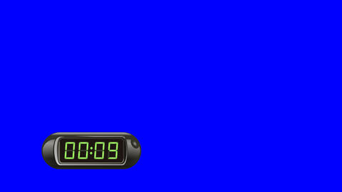 10 second Digital Countdown Timer, Counter. Left, black, isolated GIF