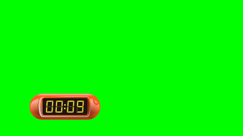 10 second Digital Countdown Timer, Counter. Left, red, isolated Animation