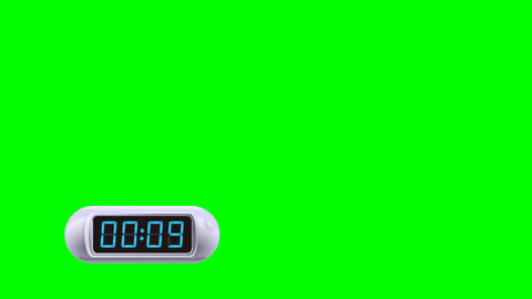 10 second Digital Countdown Timer, Counter. Left, white, isolated GIF