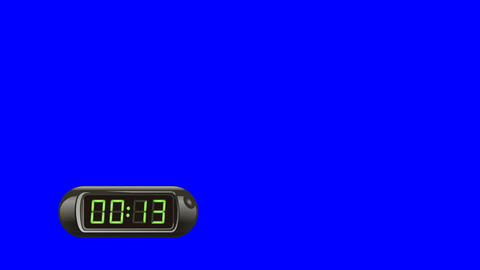 15 second Digital Countdown Timer, Counter. Left, black, isolated Animation