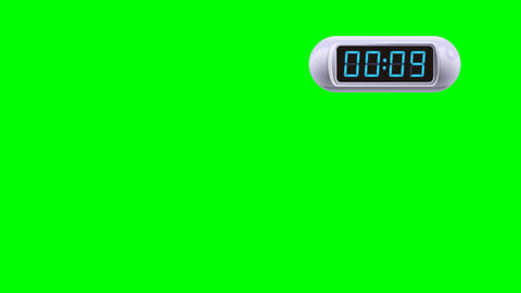 10 second Digital Countdown Timer, Counter. Right, white, isolated GIF