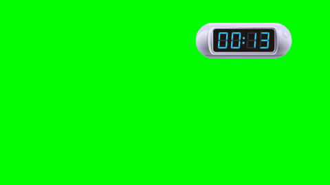 15 second Digital Countdown Timer, Counter. Right, white, isolated GIF