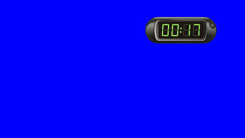 20 second Digital Countdown Timer, Counter. Right, black, isolated Animation