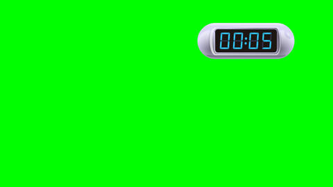 5 second Digital Countdown Timer, Counter. Right, white, isolated GIF