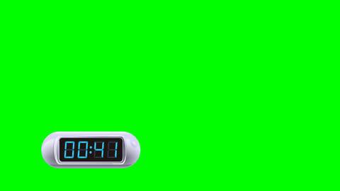 50 second Real time Digital Timer. Left, white, isolated, green screen Animation