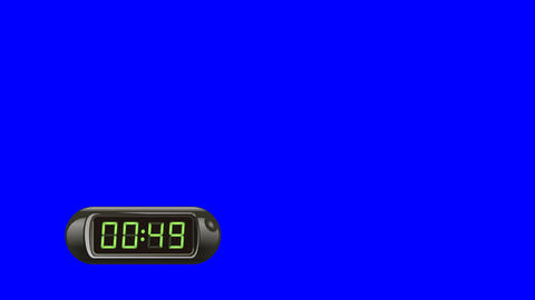 60 second Digital Countdown Timer, Counter. Left, black, isolated Animation