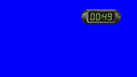60 second Digital Countdown Timer, Counter. Right, black, isolated Animation