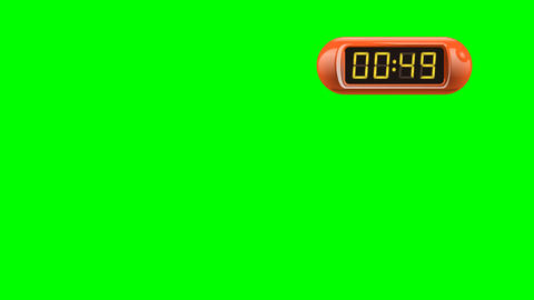 60 second Digital Countdown Timer, Counter. Right, red, isolated Animation