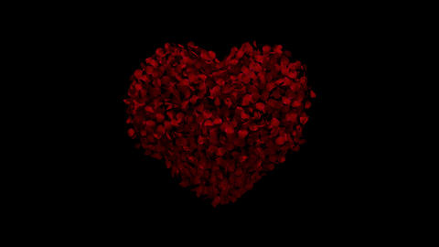 Heart animation from rose petals CG動画素材