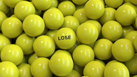 Lottery balls fill the screen with lose word in the front Stock Video Footage