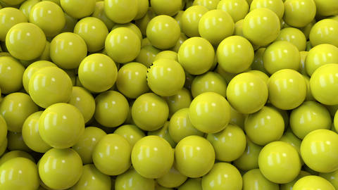 Yellow lottery balls fill the screen with win word in the front Animation