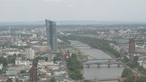 European Central Bank with Frankfurt cityscape Footage