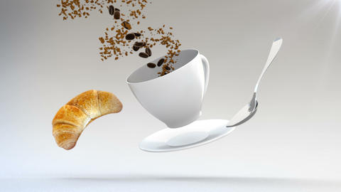 3D CGI footage of flying croissant, spoon, plate and coffe cup. Cup being filled Live Action
