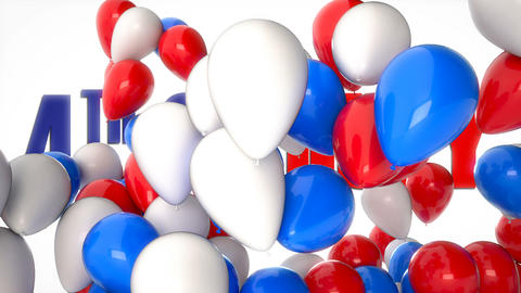 3D CGI video of colorful balloons flying over greetings with 4th of July Footage