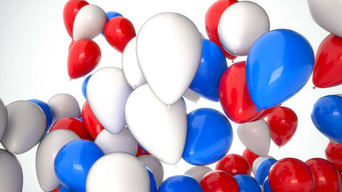 3D CGI footage of red, white and blue balloons flying up over white background Footage