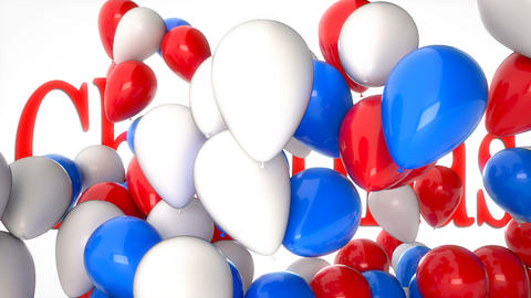 3d CGI video of colorful balloons flying over word Christmas. Perfect footage Footage