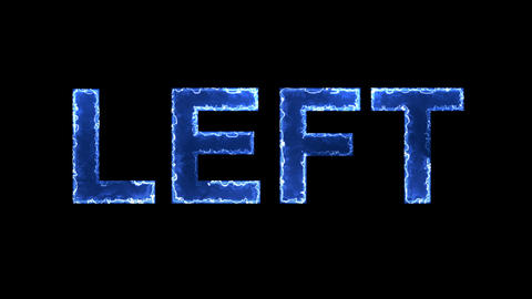 Blue lights form luminous text LEFT. Appear, then disappear. Electric style Animation