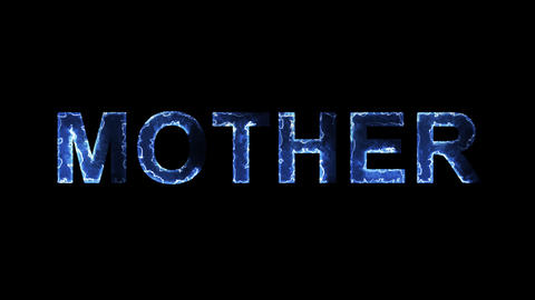 Blue lights form luminous text MOTHER. Appear, then…, Stock Animation