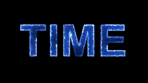 Blue lights form luminous text TIME. Appear, then disappear. Electric style Animation