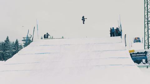 BIALKA TATRZANSKA, POLAND - FEBRUARY 3, 2018. Snowboard freestyle rider failing Footage