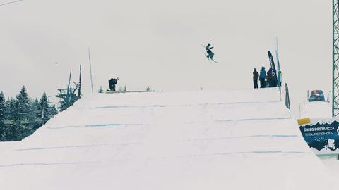 BIALKA TATRZANSKA, POLAND - FEBRUARY 3, 2018. Freestyle skier performing a trick Footage