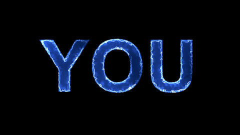 Blue lights form luminous text YOU. Appear, then disappear. Electric style Animation