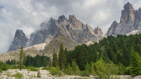 Timelapse video of the Dolomites Italian Alps with the Furchetta mountain Footage