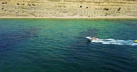 Aerial Footage Of Drone Flyover People Having Fun On Yacht Ride Footage