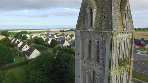 Church Steeple Aerial- France (Beny-sur-Mer, Normandy) 画像
