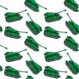 cartoon hand drawn green tank, seamless pattern Vector