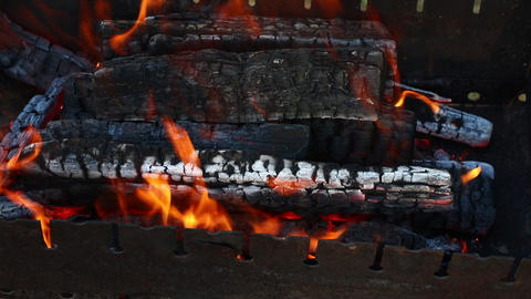 Bonfire wood fire flame in fireplace Footage
