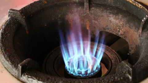 Close up blue flame of gas stove Image