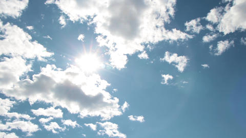 Timelapse White Boiling Clouds Bright Sun Blue Sky 3 Footage