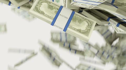 US dollar bundles flow with slow motion. alpha 動畫