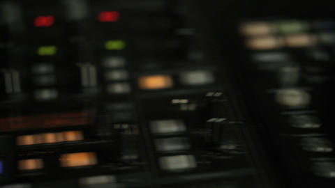 Moving pan of DJ decks Stock Video Footage