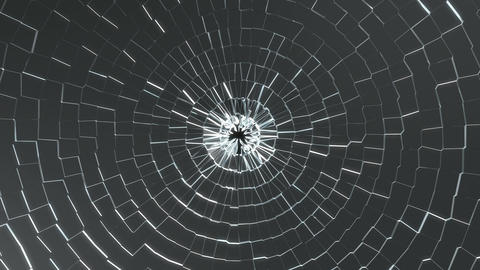 Bullet hole: Shattered glass with slow motion. Alpha is included Animation