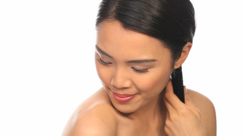 Woman brushing her hair Stock Video Footage