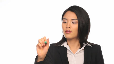 Asian Businesswoman Writing On A Virtual Screen stock footage