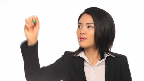 Asian businesswoman writing on a virtual screen Stock Video Footage