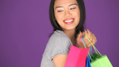 Woman with shopping bags Stock Video Footage