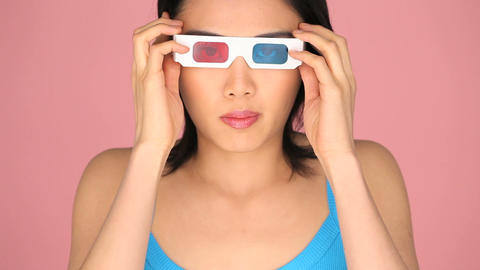 Woman wearing 3d glasses Stock Video Footage