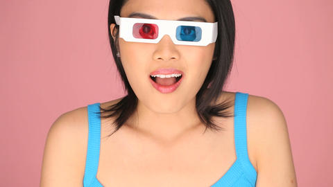 Woman wearing 3d glasses Live Action