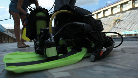 diving training 03 Stock Video Footage