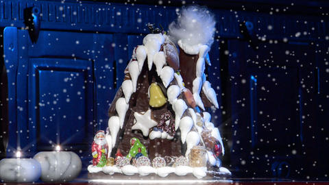German Confectioner Gingerbread House Dolly Left Snow 10777 stock footage