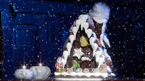 german confectioner gingerbread house dolly left snow 10777 Stock Video Footage