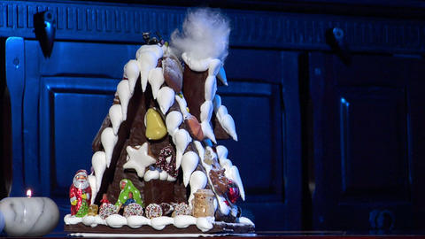 german confectioner gingerbread house dolly left clean 10791 Stock Video Footage