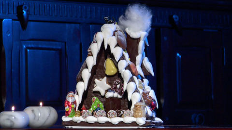 german confectioner gingerbread house dolly left clean 10791 Footage