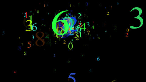 Numbers, isolated on black background, loop Stock Video Footage