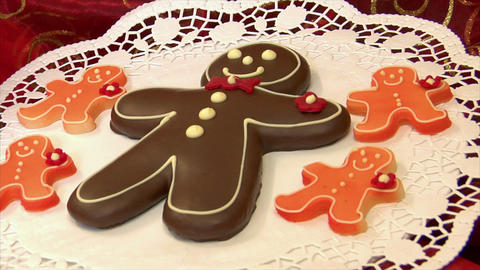 10800 german confectioner dolly around gingerbread man Stock Video Footage